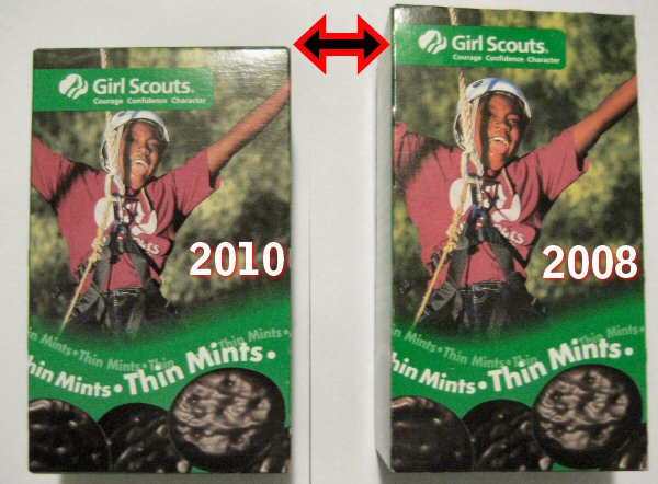 Girl Scout Thin Mint Cookie Box Comparison
